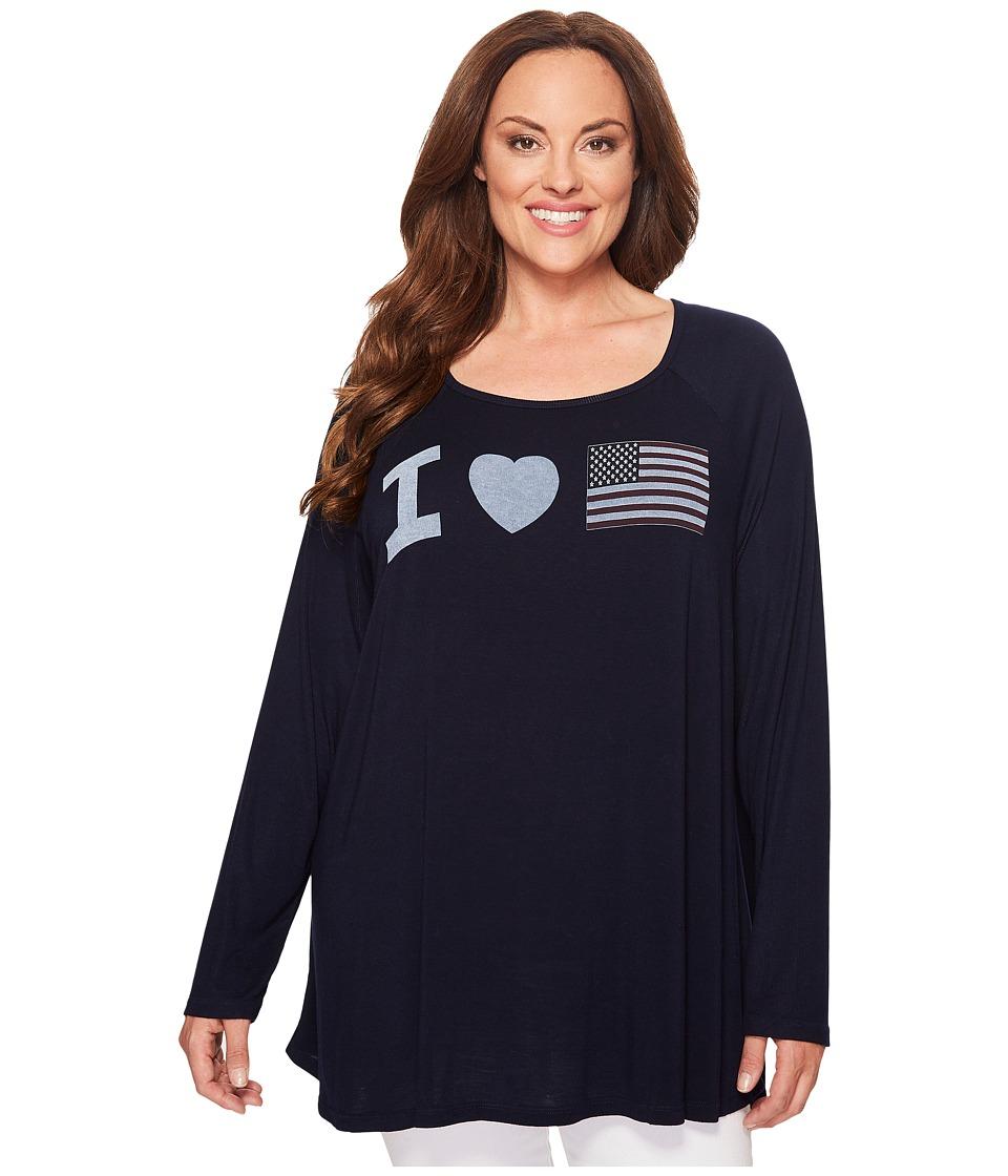 Allen Allen - Plus Size Heart Flag Tee (Lapis) Women's T Shirt