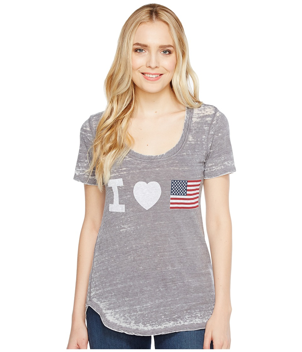 Allen Allen - Heart Flag Tee (Dark Grey) Women's T Shirt