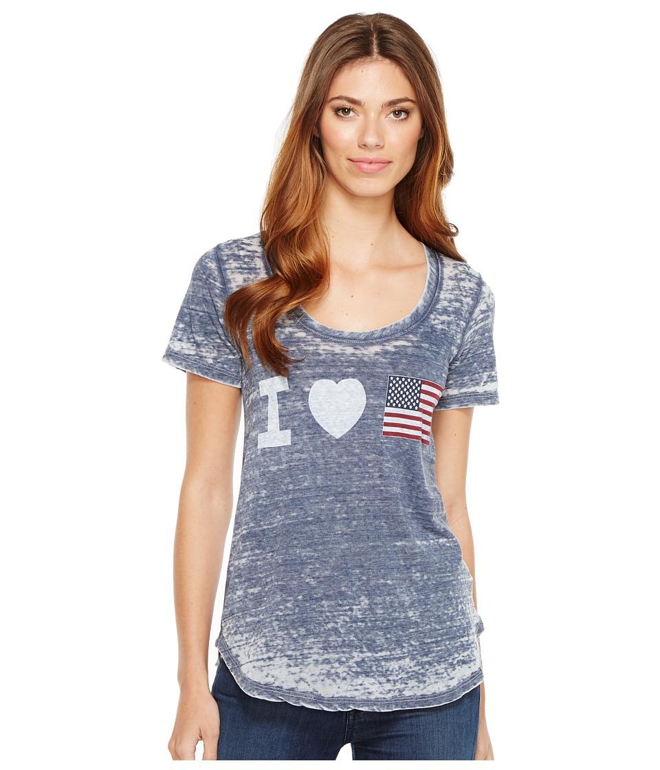 Allen Allen - Heart Flag Tee (Lapis) Women's T Shirt