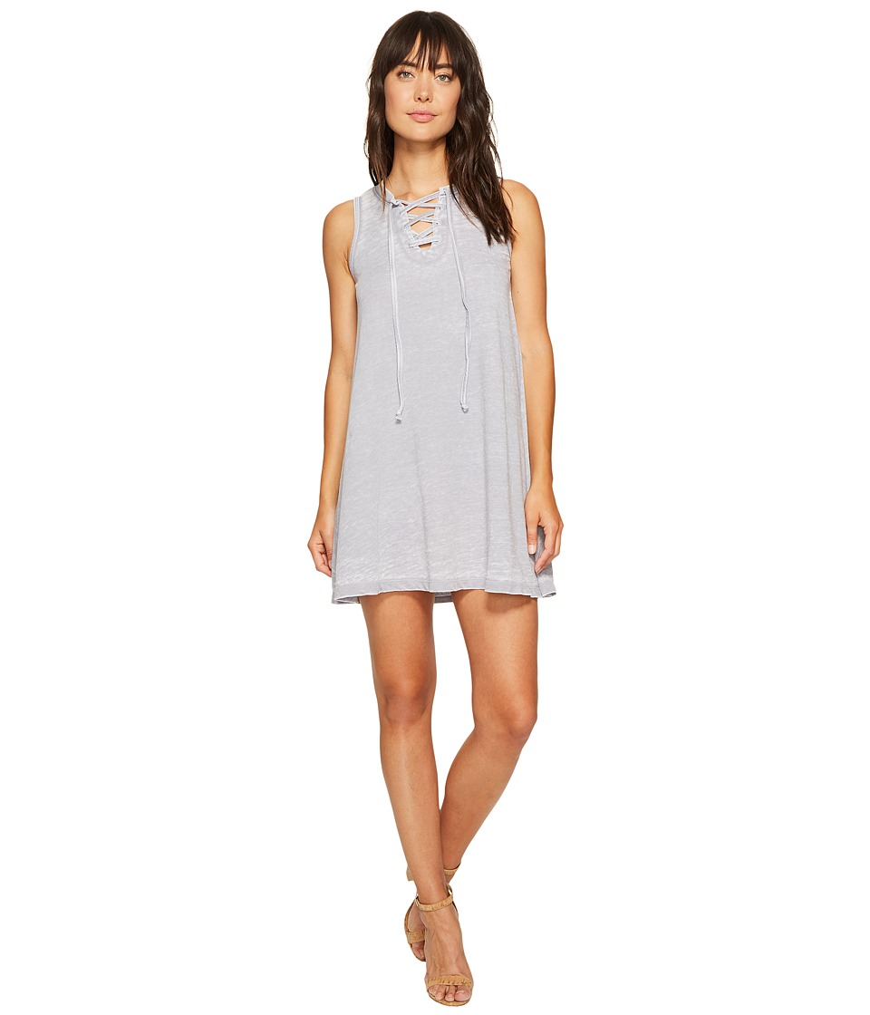 Allen Allen - French Terry Tie Front Dress (Dark Grey) Women's Dress
