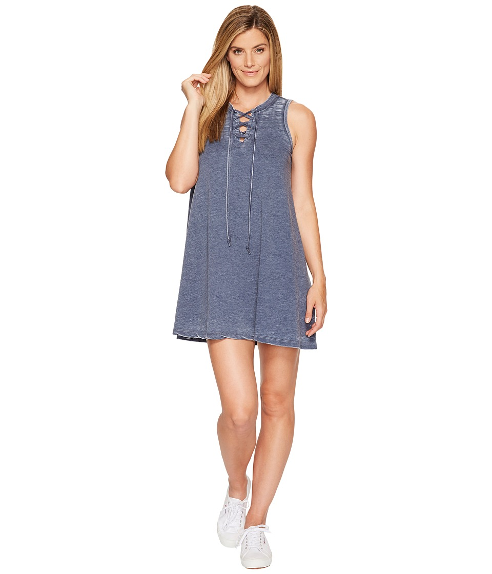 Allen Allen French Terry Tie Front Dress (Lapis) Women