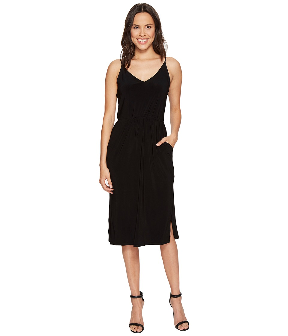 1.STATE - Spaghetti Strap V-Neck Dress (Rich Black) Women's Dress