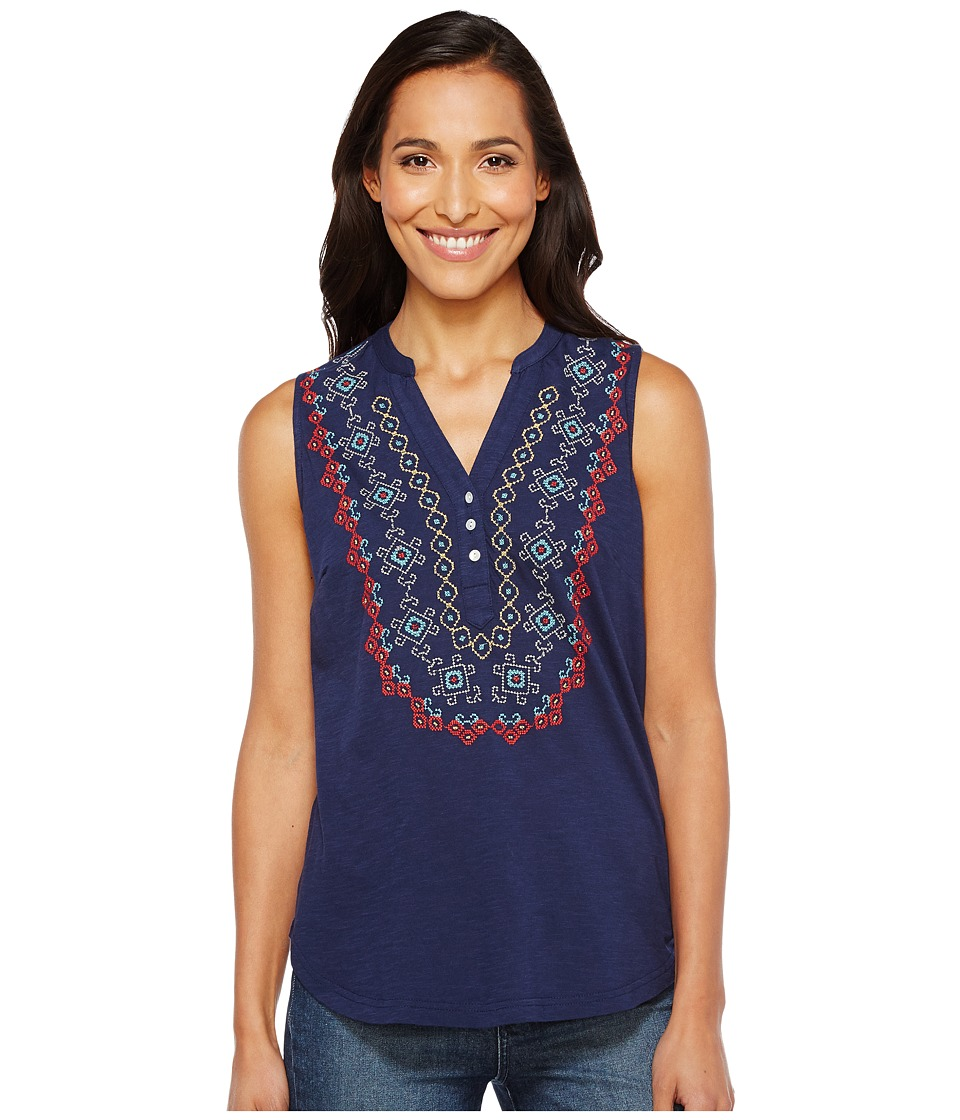 Roper - 1140 Cotton Slub Jersey Tunic (Blue) Women's Blouse