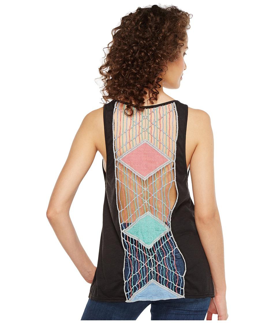 Roper - 1133 Poly Rayon Knit Loose Fit Tank Top (Black) Women's Sleeveless