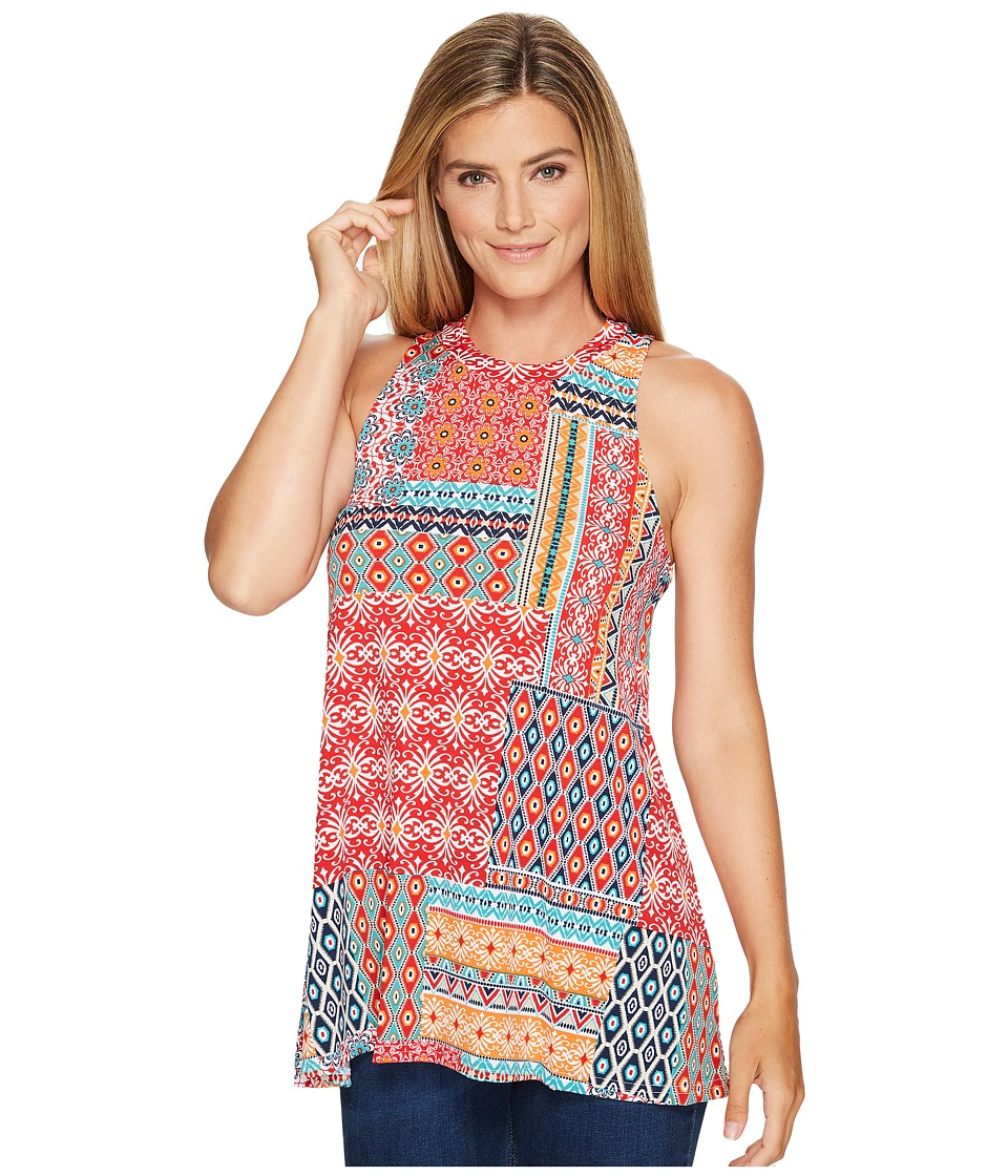 Roper - 0978 Floral Aztec Patch Print Tank Top (Red) Women's Sleeveless