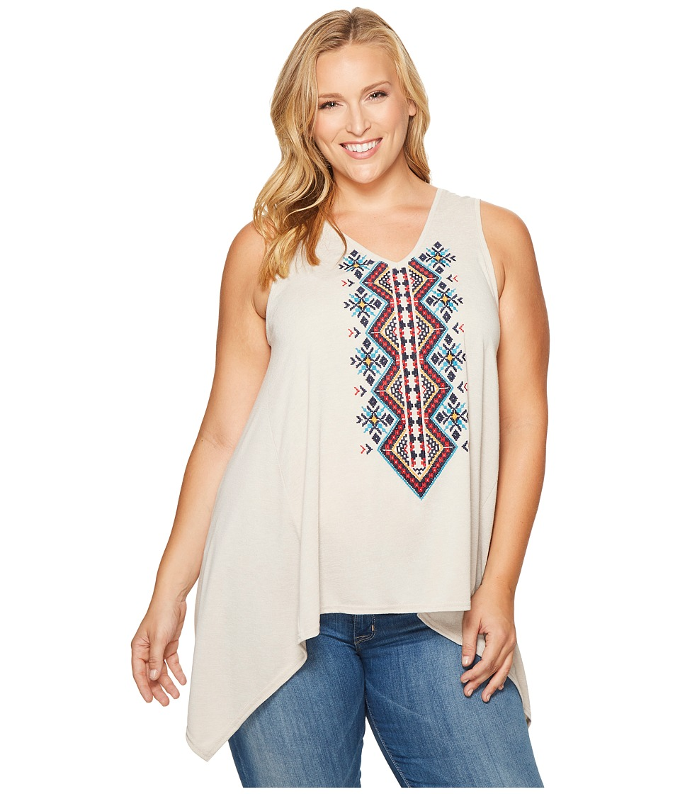 Roper - Plus Size 1105 Poly Rayon Heather Jersey Tank Top (Brown) Women's Sleeveless
