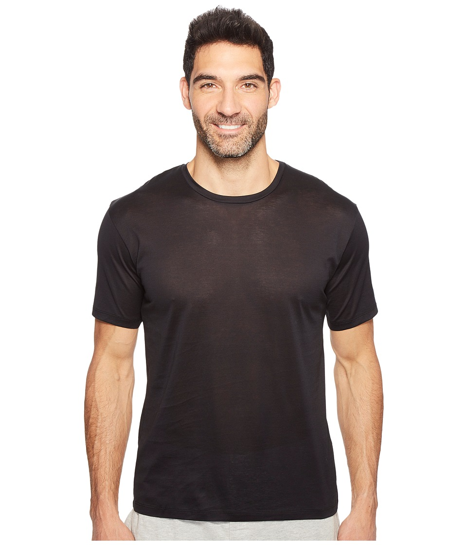Hanro - Cotton Sporty Short Sleeve Shirt (Black) Men's T Shirt