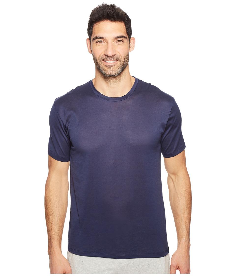 Hanro Cotton Sporty Short Sleeve Shirt (Midnight Navy) Men