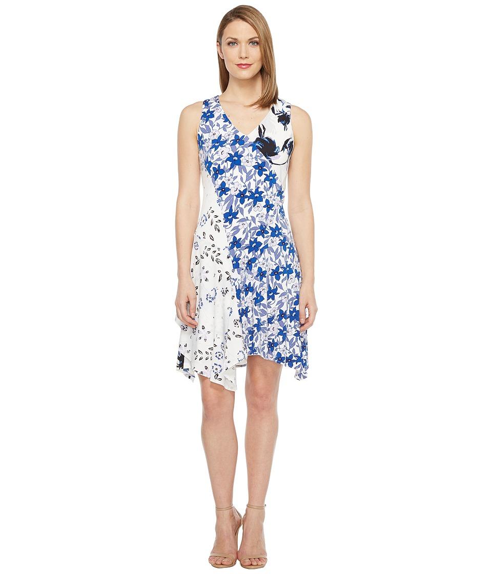 Ivanka Trump - Jersey Mixed Print Dress (Ivory/Sea Blue) Women's Dress