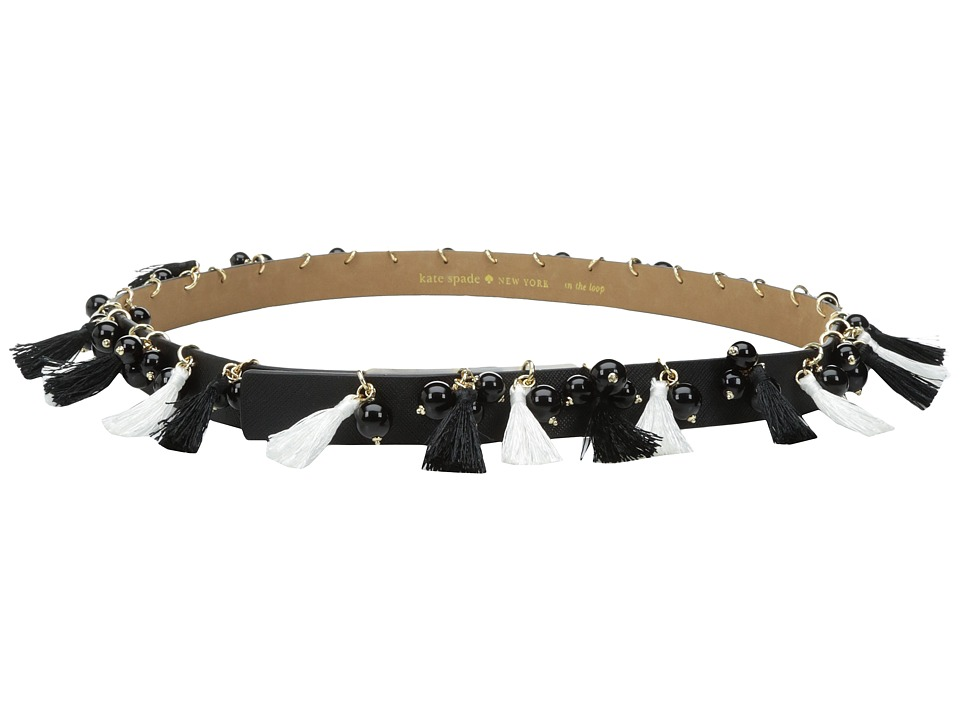 Kate Spade New York - 7/8 Saffiano Tassel and Bead Belt (Black 1) Women's Belts