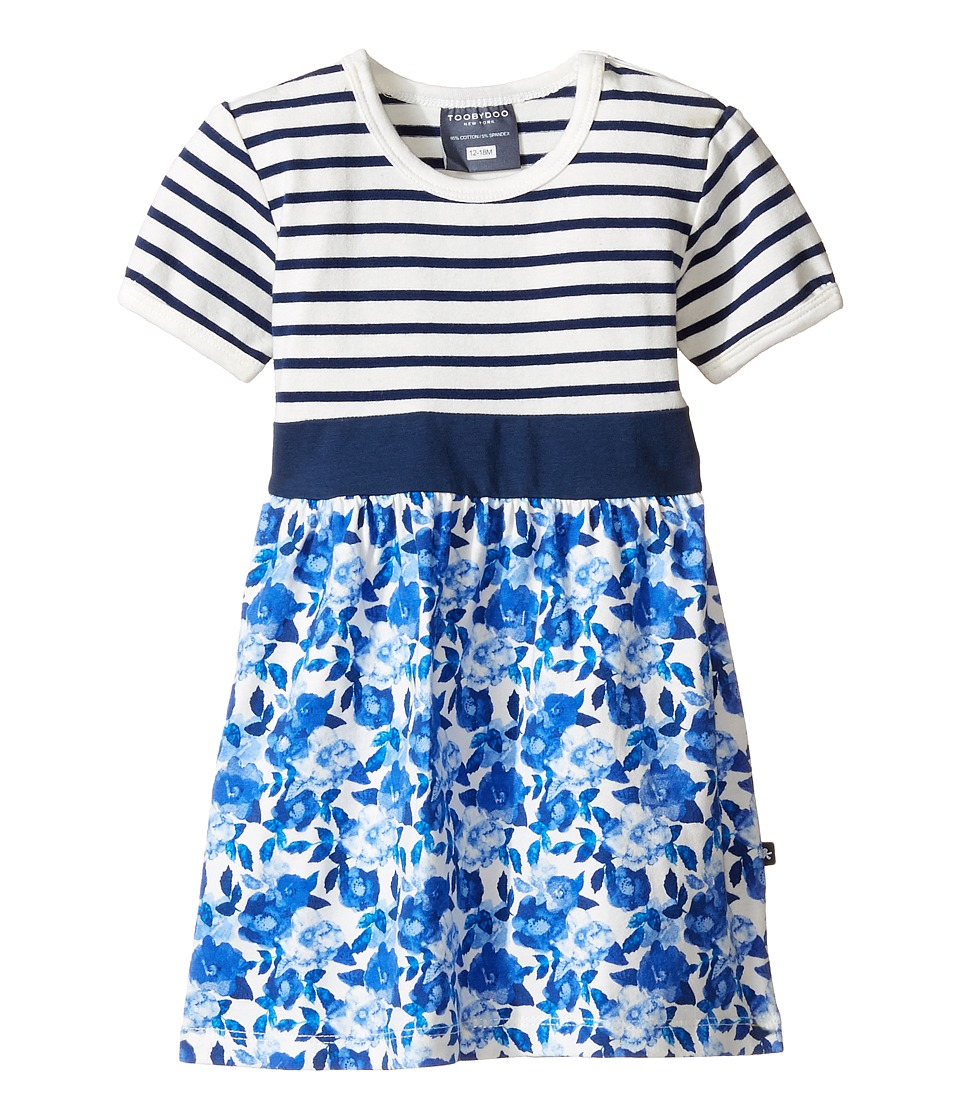 Toobydoo - Baby Blue Belt Dress (Infant/Toddler) (Navy/White/Floral) Girl's Dress