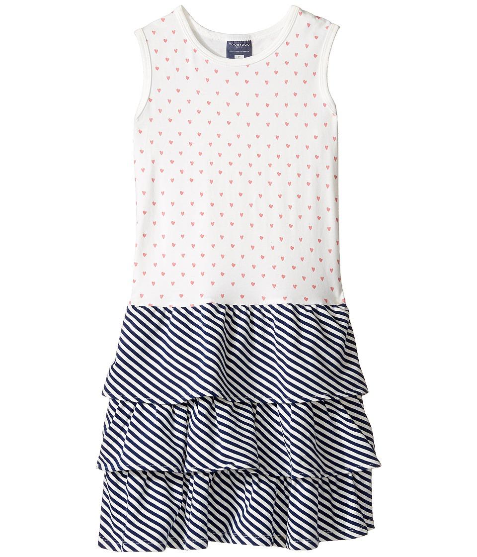 Toobydoo - Little Heart Ruffle Tank Dress (Toddler/Little Kids/Big Kids) (Navy/Pink/White) Girl's Dress
