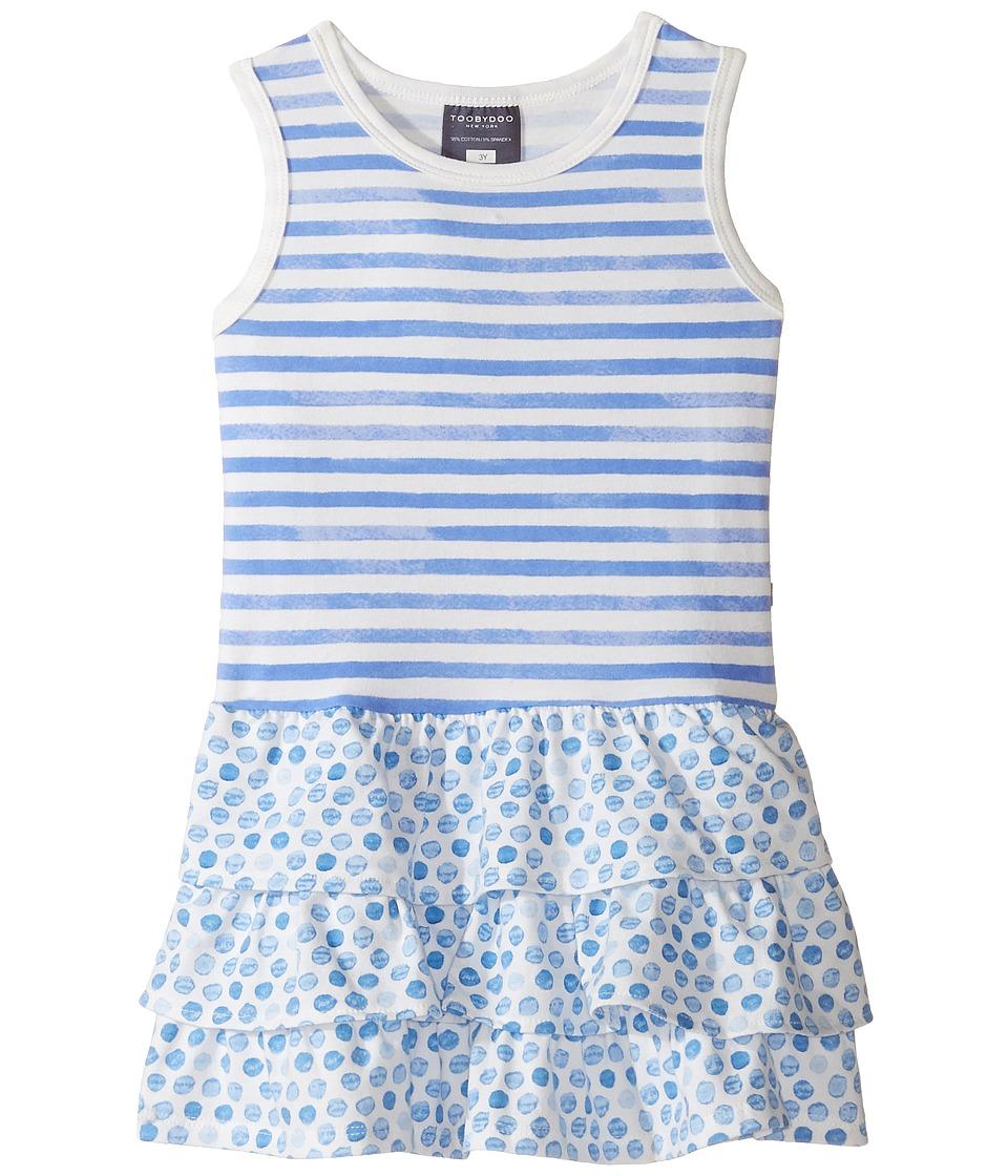 Toobydoo - Ruffle Tank Dress (Toddler/Little Kids/Big Kids) (Blue/White) Girl's Dress