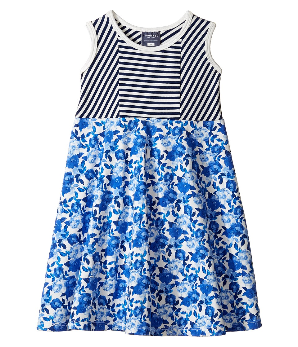 Toobydoo - Skater Tank Dress (Toddler/Little Kids/Big Kids) (Navy/White/Floral) Girl's Dress