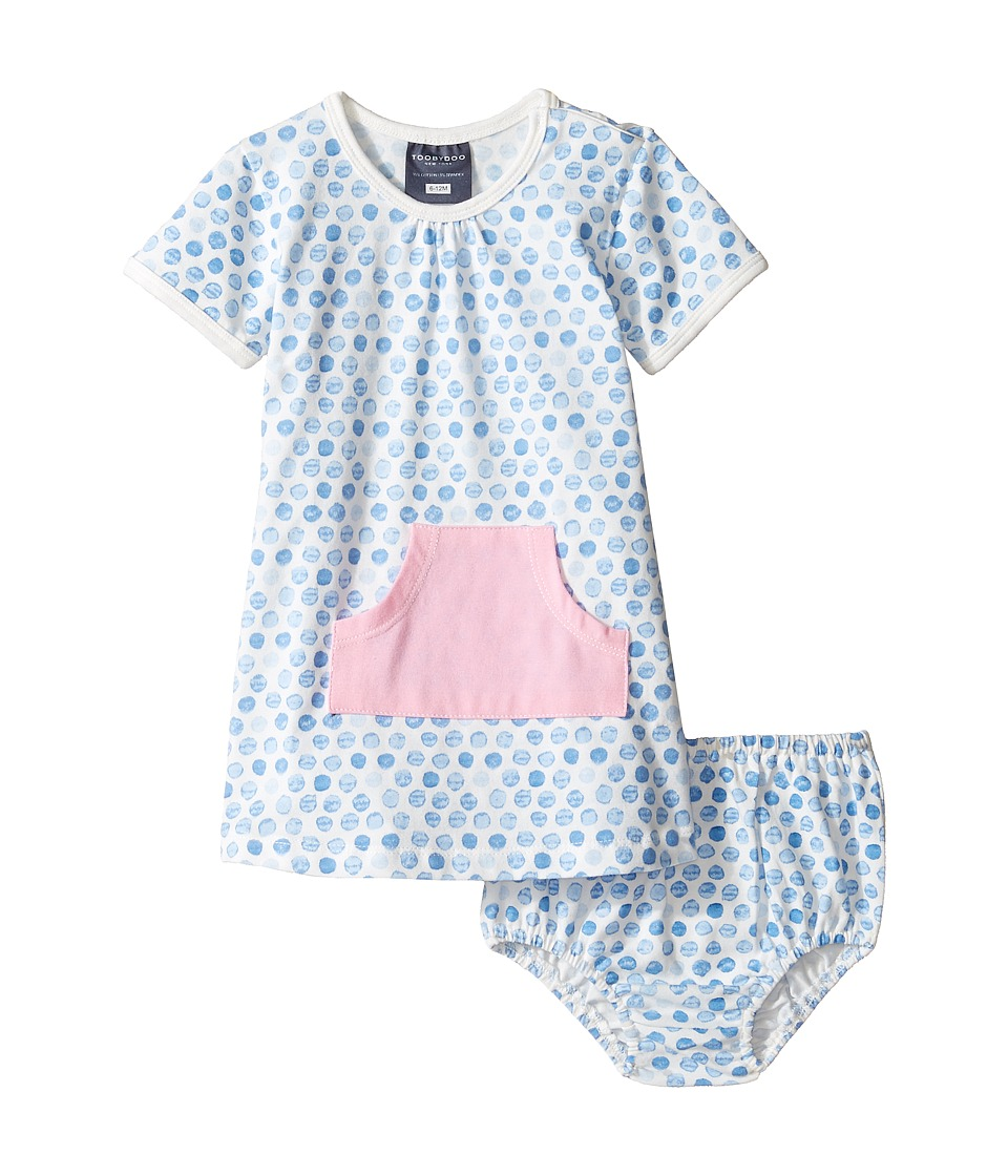 Toobydoo - Pocket Play Dress (Infant/Toddler) (Pink/Blue/White) Girl's Dress