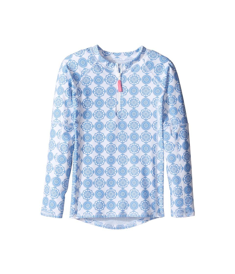 Toobydoo Delft Long Sleeve Rashguard (Infant/Toddler/Little Kids/Big Kids) (Blue/White) Girl