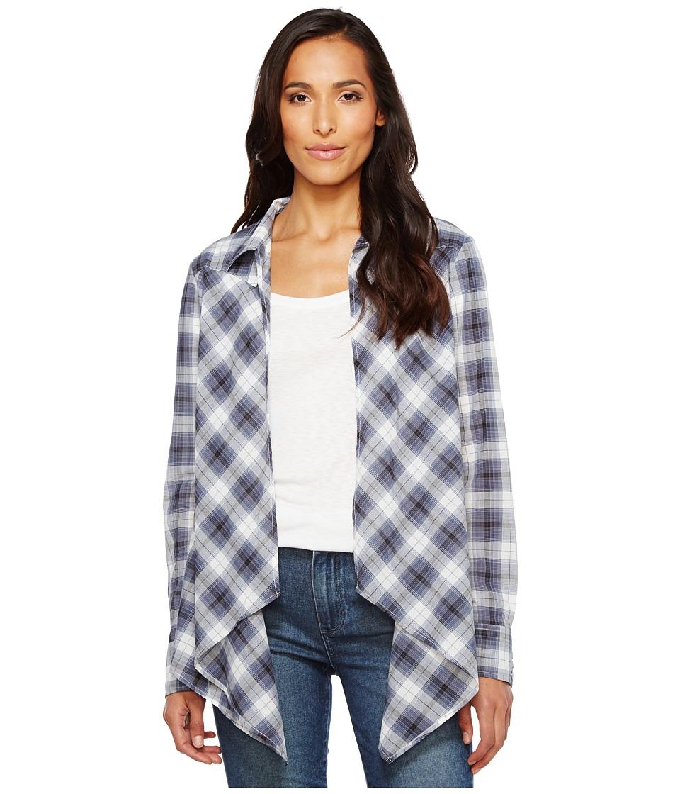 Roper - 1143 Blue/Grey Plaid Western Cardigan (Blue) Women's Sweater