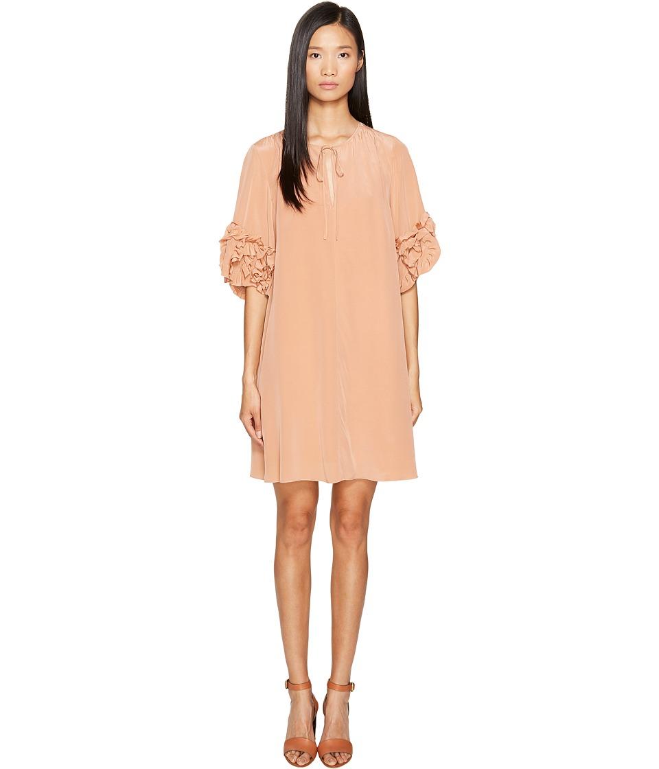 See by Chloe - Georgette Ruffle Sleeve Dress (Dusty Nude) Women's Dress