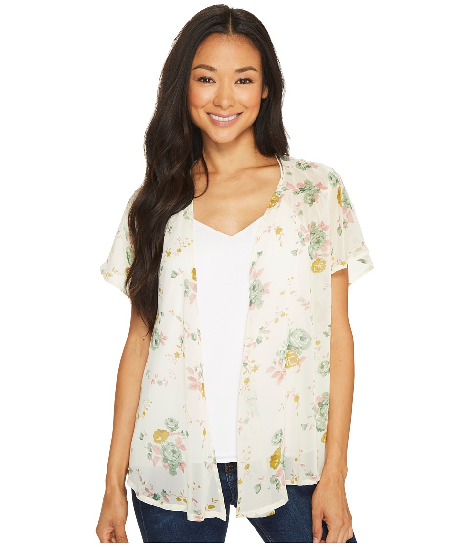 Roper - 1131 Cream Floral Chiffon Cardigan (White) Women's Sweater