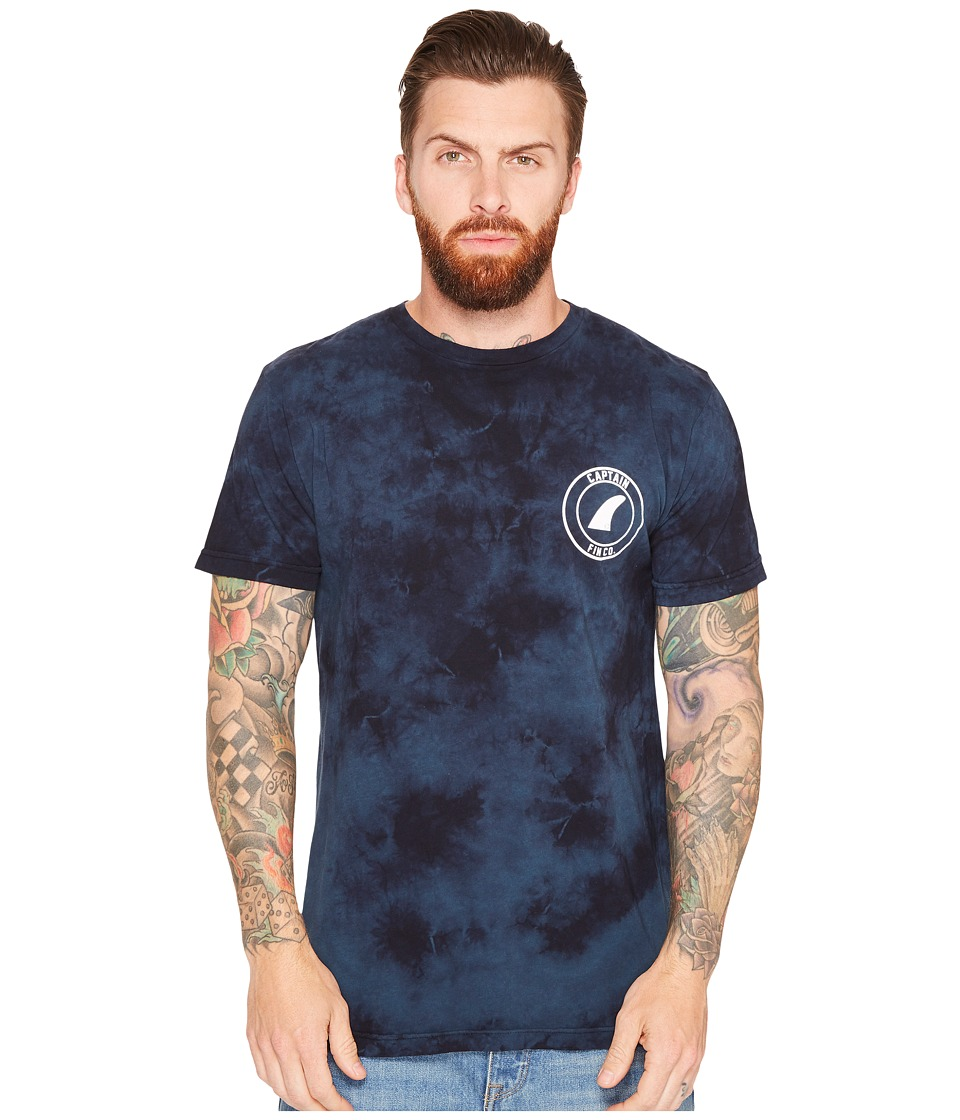 Captain Fin - Crest Premium Tee (Blue Tie-Dye) Men's T Shirt