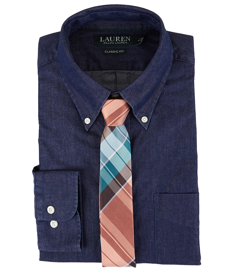 LAUREN Ralph Lauren - Classic Fit Solid Button Down Collar Dress Shirt (Blue Indigo) Men's Long Sleeve Button Up