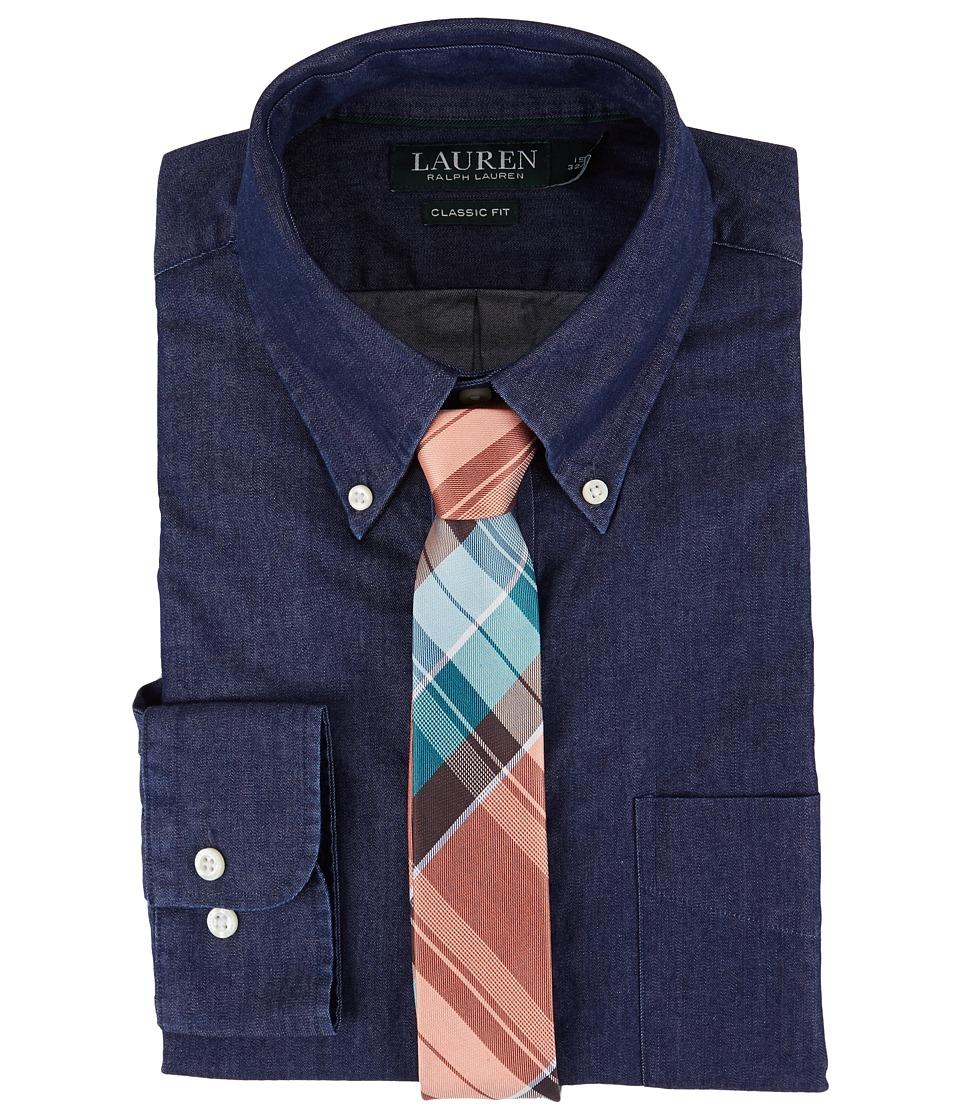 LAUREN Ralph Lauren - Classic Fit Solid Button Down Collar Dress Shirt (Blue Indigo) Men's Long Sleeve Button Up