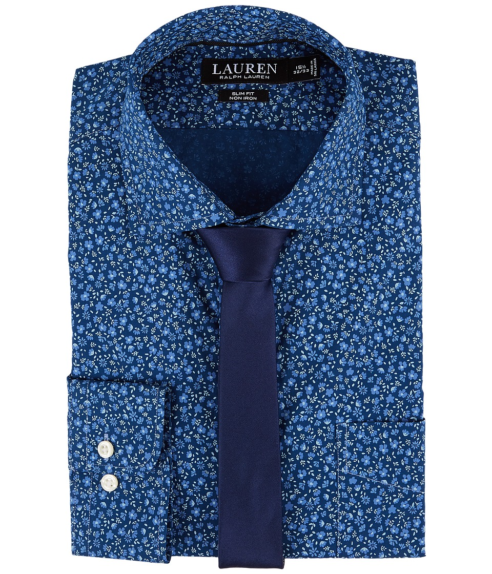 LAUREN Ralph Lauren - Slim Fit Non Iron Floral Dress Shirt (Blue Floral) Men's Long Sleeve Button Up