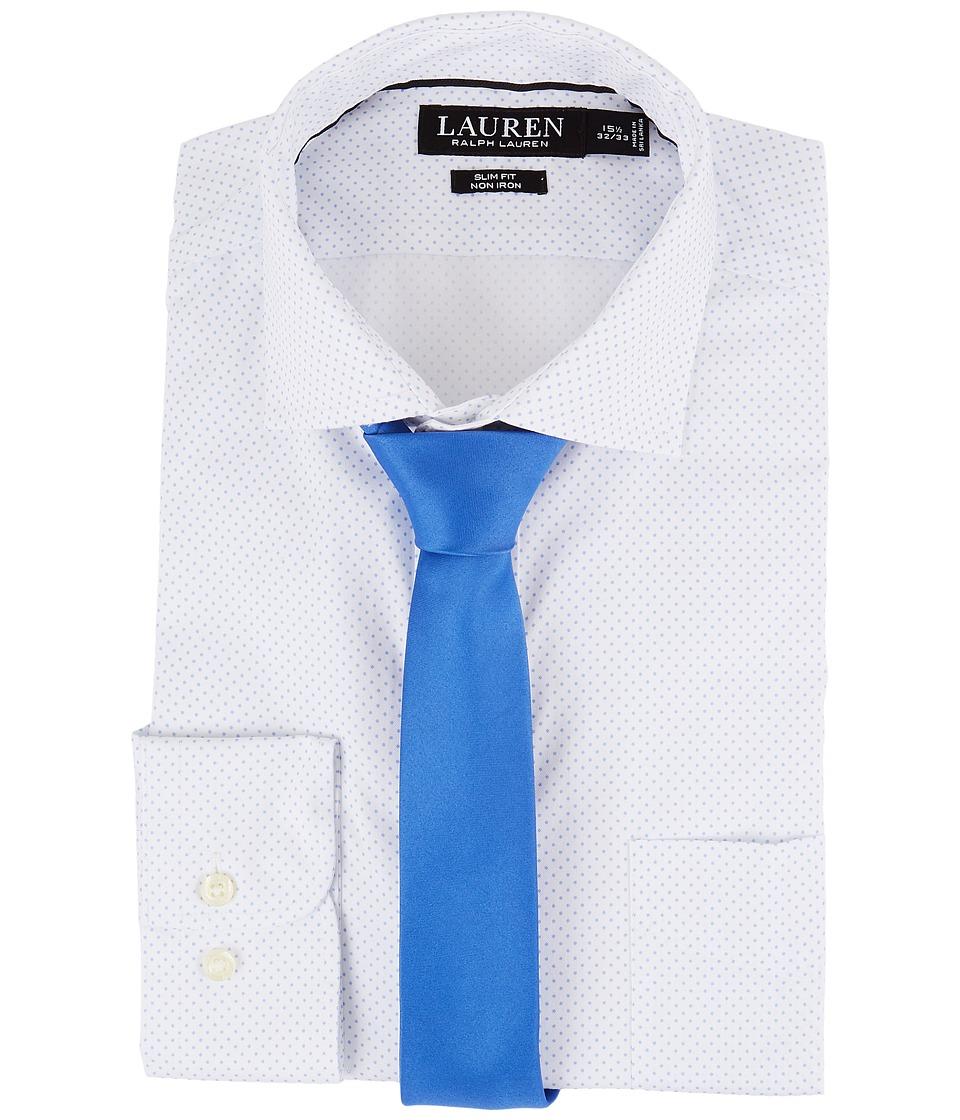 LAUREN Ralph Lauren - Slim Fit Non Iron Mini Dot Poplin Plaid Spread Collar Dress Shirt (Blue/White) Men's Long Sleeve Button Up