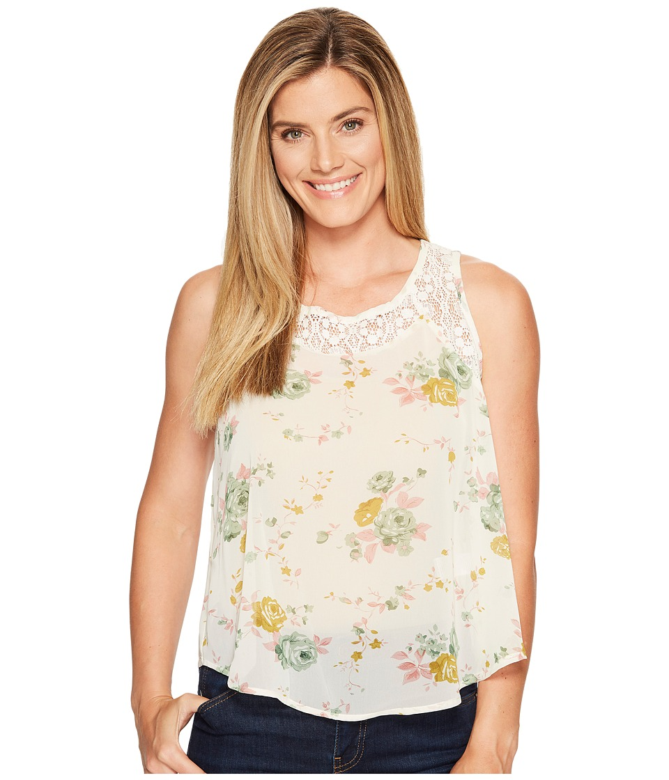 Roper - 1131 Cream Floral Chiffon Tank Top (White) Women's Sleeveless