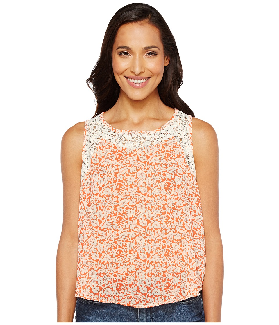 Roper - 1132 Vine Print Poly Chiffon Tank Top (Orange) Women's Sleeveless