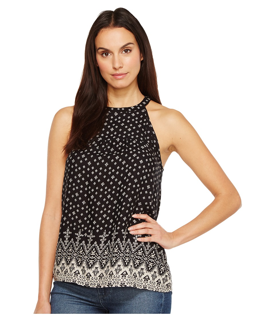 Roper - 1109 Rayon Border Print Halter Neck Tank Top (Black) Women's Sleeveless