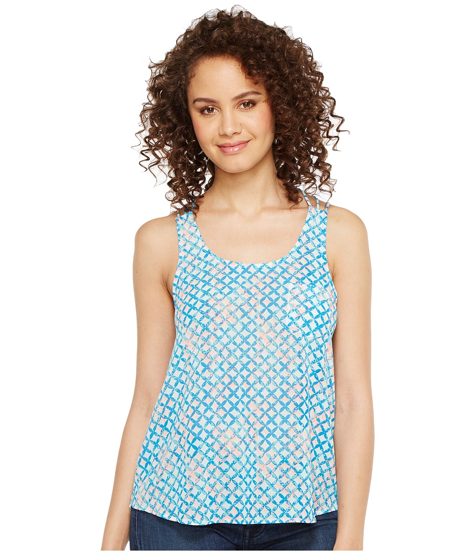 Roper 1129 Blue and Peach Printed Chiffon Tank Top (Blue) Women