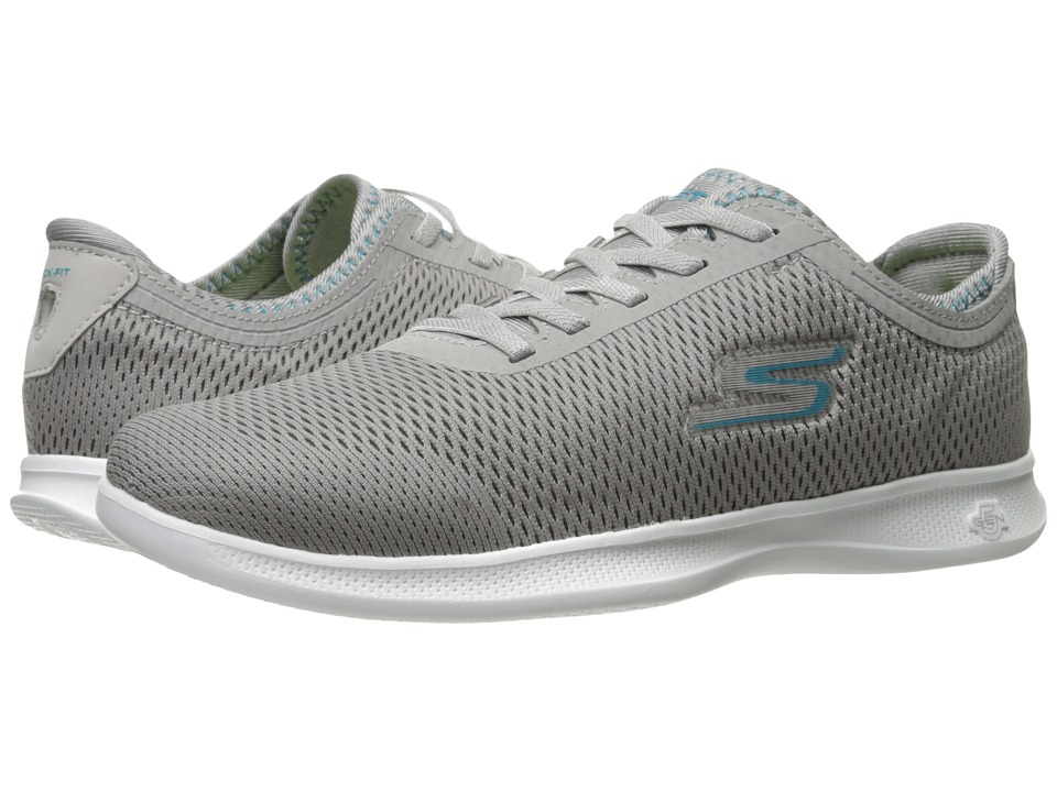 SKECHERS Performance Go Step Lite Persistence (Gray/Turquoise) Women