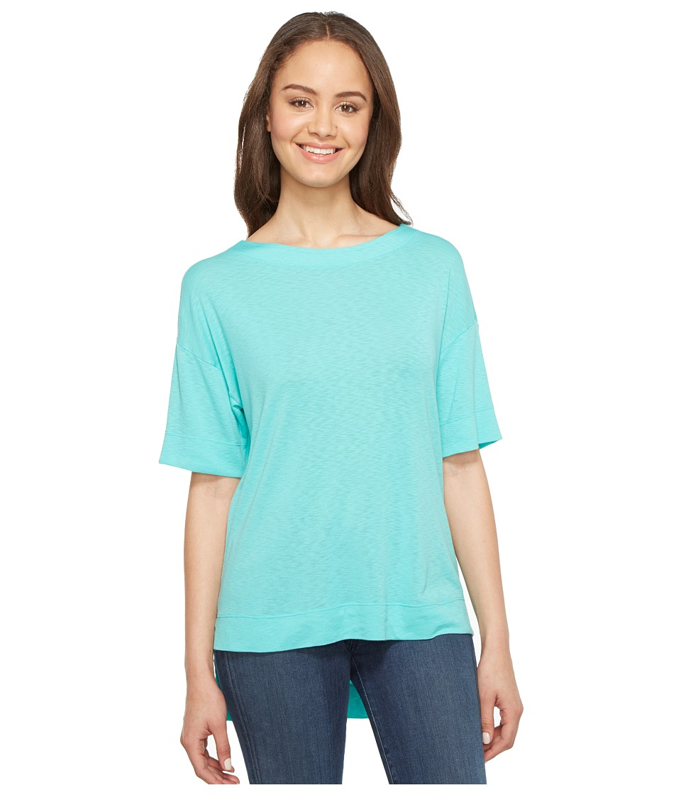 Three Dots - Slub Tuxedo Tee (Lagoon) Women's T Shirt