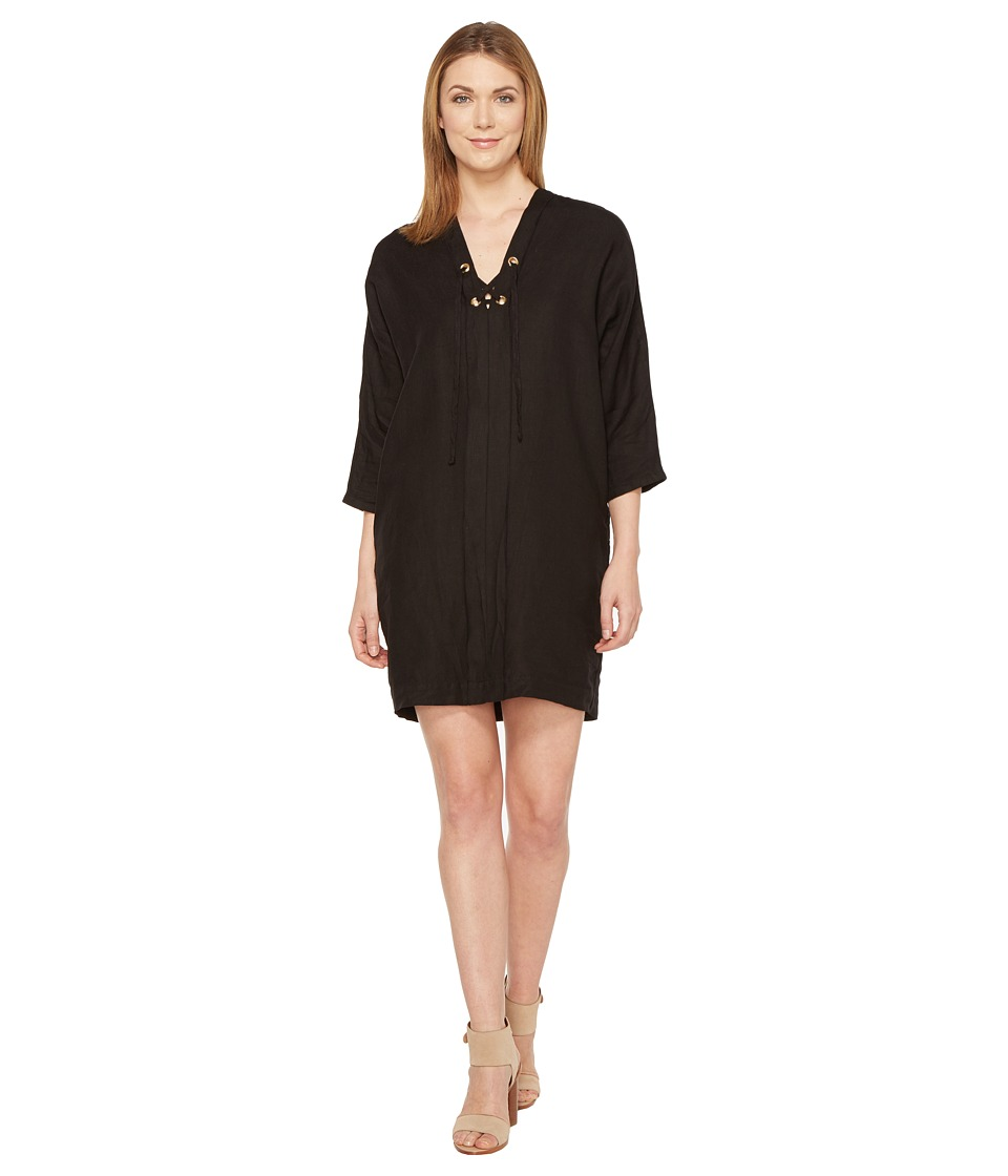 Three Dots Lace-Up Cocoon Dress (Black) Women