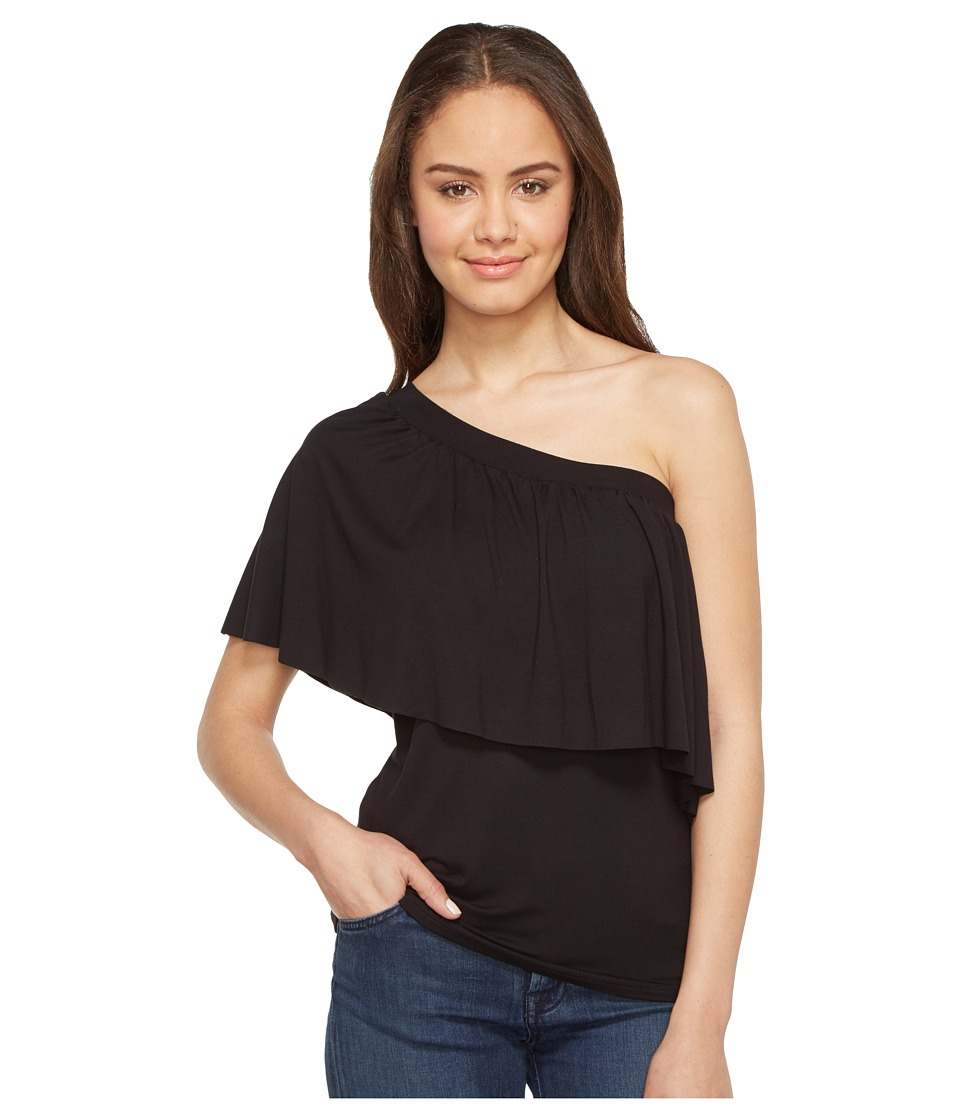 Three Dots - Ruffle Top (Black) Women's Clothing