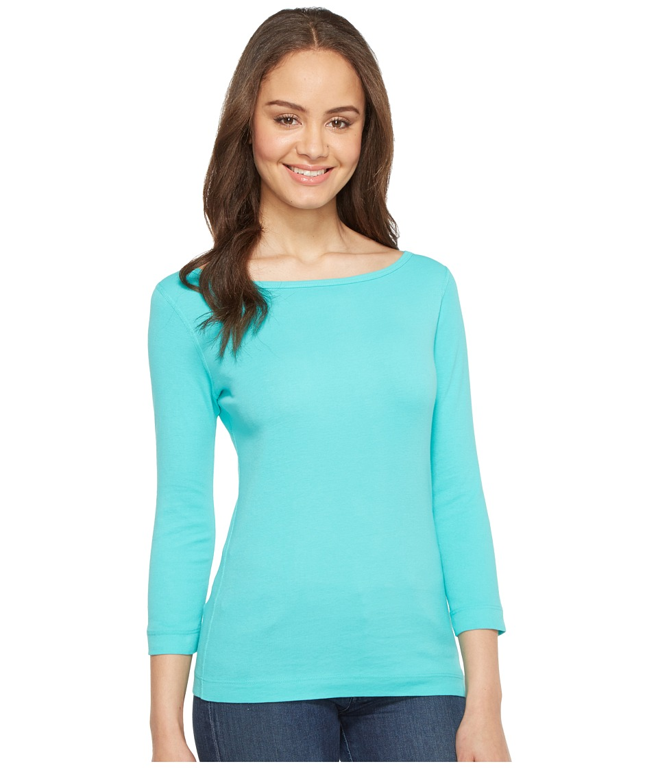 Three Dots - 3/4 Sleeve British Tee (Lagoon) Women's Long Sleeve Pullover