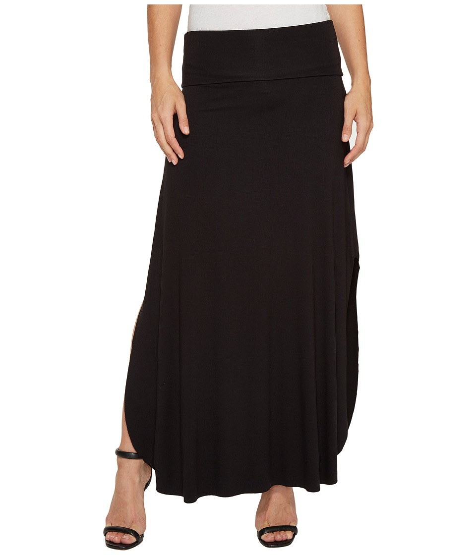 Three Dots - Maxi Skirt w/ Side Slits (Black) Women's Skirt