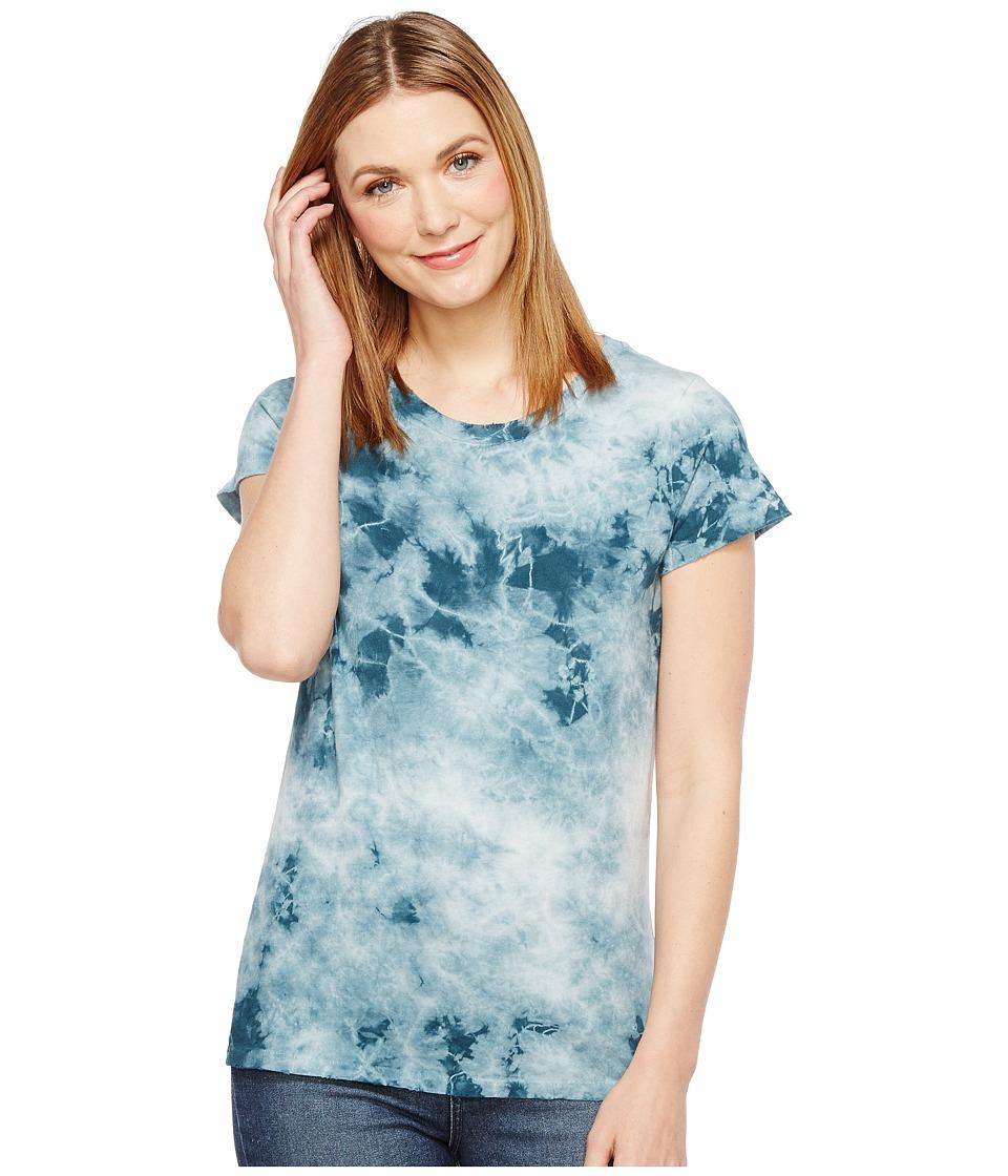 Alternative - Cotton Jersey Tie-Dye Distressed Vintage Tee (Coastal Teal Crystal Wash) Women's T Shirt