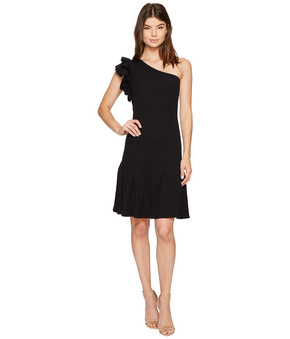 Rebecca Taylor One Shoulder Rib Jersey Dress (Black) Women