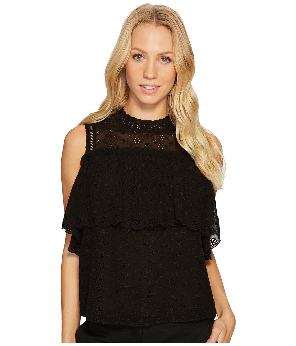 Rebecca Taylor - Short Sleeve Open Shoulder Eyelet Top (Black) Women's Clothing