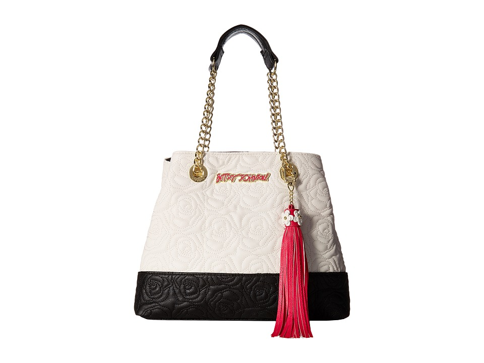 Betsey Johnson - Rose Quilt Chain (Cream/Black) Handbags