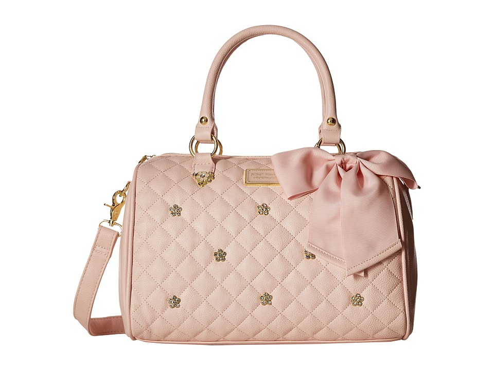 Betsey Johnson - Flower Stone Satchel (Blush) Satchel Handbags