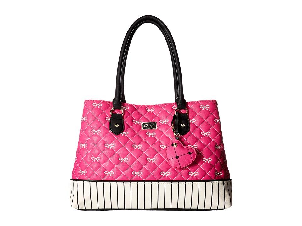 Luv Betsey - Carlie Satchel (White/Fuchsia) Satchel Handbags