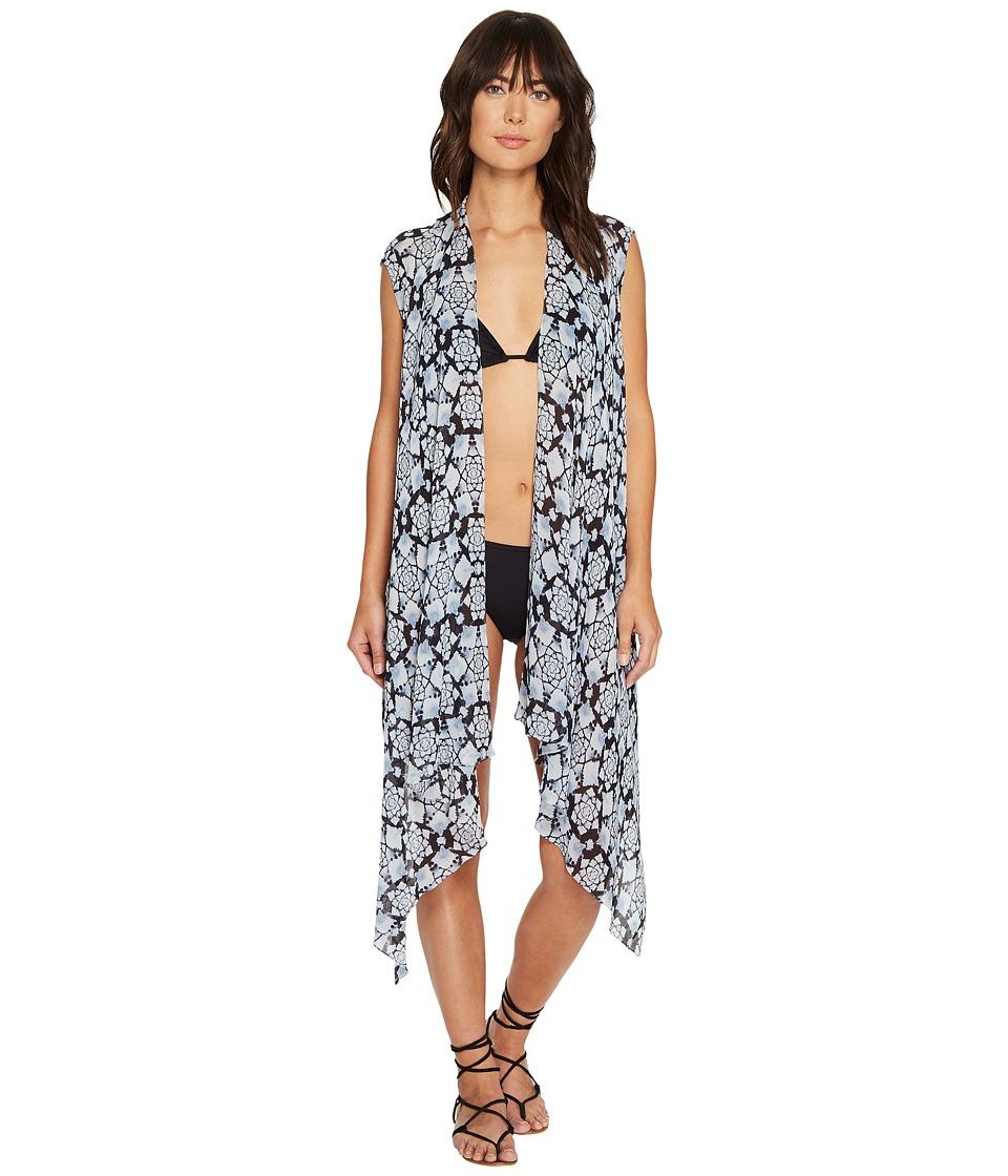Nicole Miller - La Plage by Nicole Miller Shibori Burst Viscose GGT Wrap (Navy) Women's Clothing
