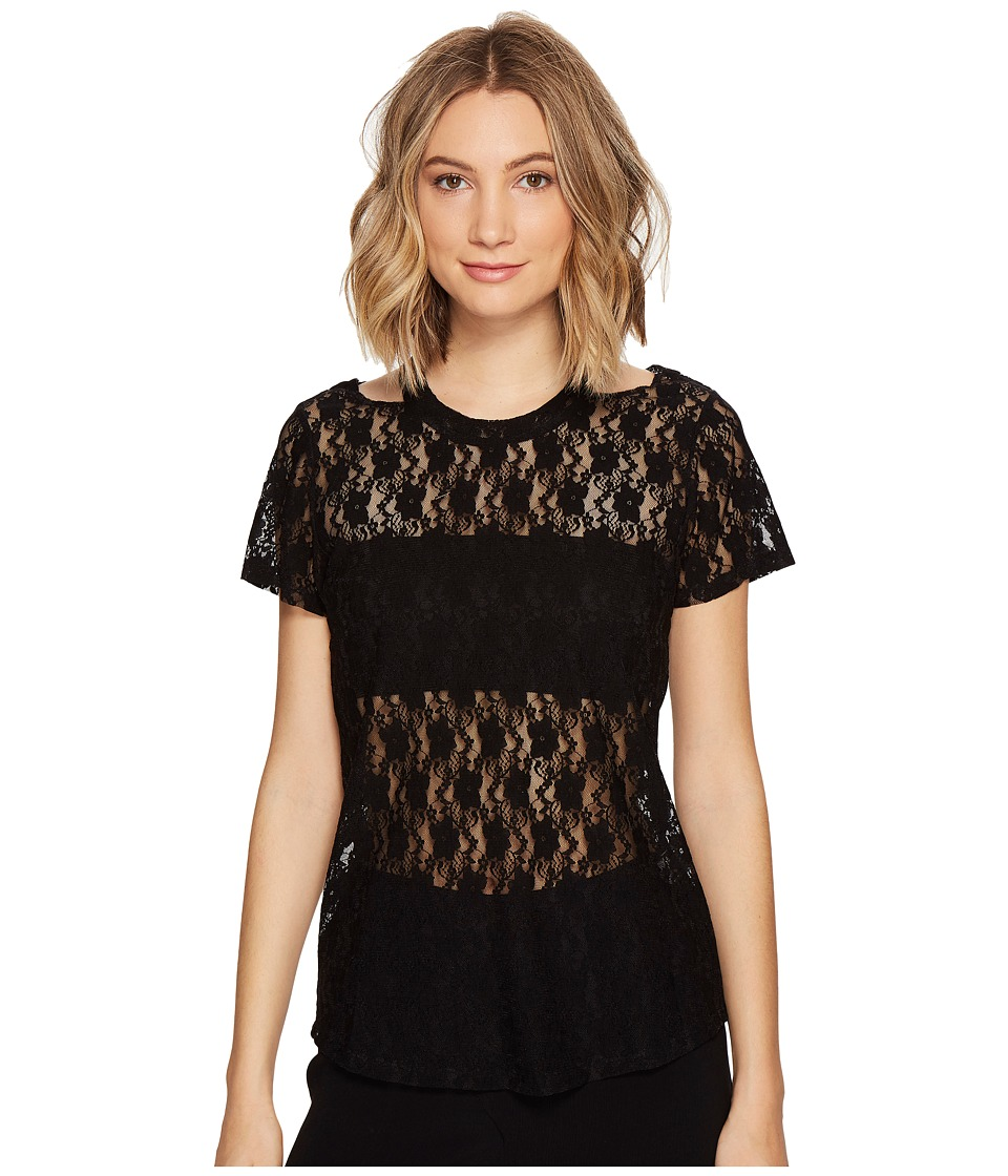Nicole Miller - Riley Stretch Lace Cut Out Top (Black) Women's Clothing