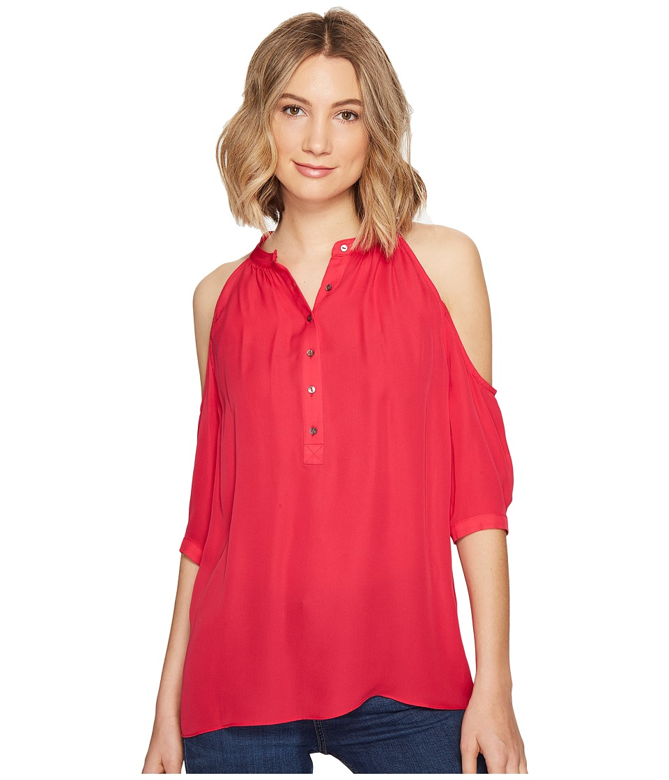 Nicole Miller - Silk Cold Shoulder Blouse (Snapdragon) Women's Blouse