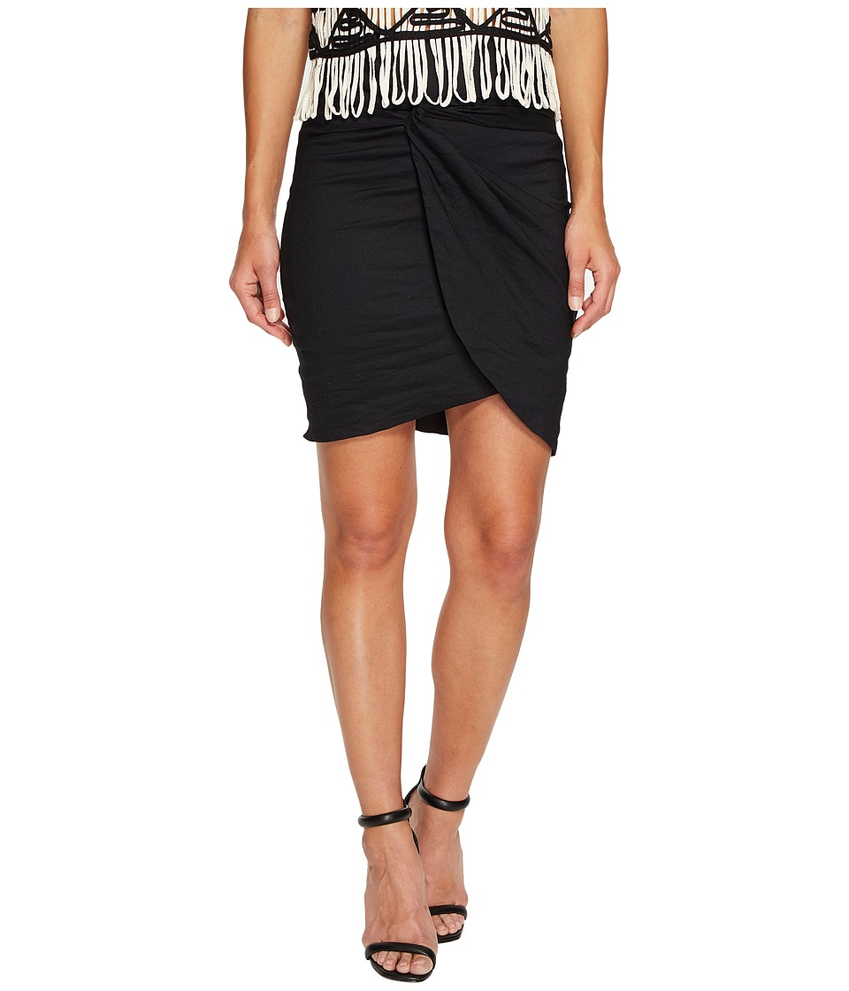 Nicole Miller Colette Knot Tie Cotton Metal Skirt (Black) Women's Skirt