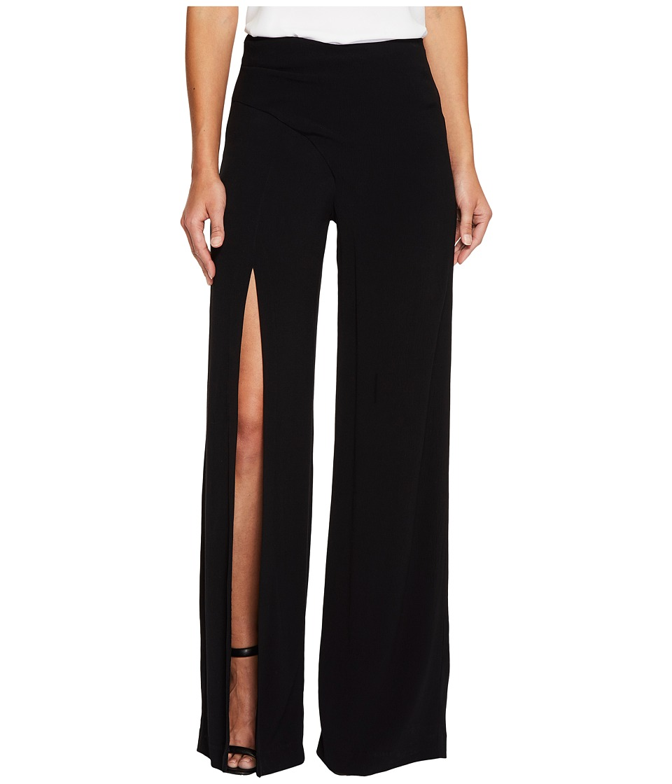 Nicole Miller - Alex Satin One Leg Slit Pants (Black) Women's Casual Pants