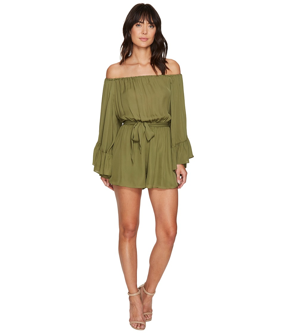 Nicole Miller - Harlow Flare Sleeve Tie Romper (Moss Stone) Women's Jumpsuit & Rompers One Piece